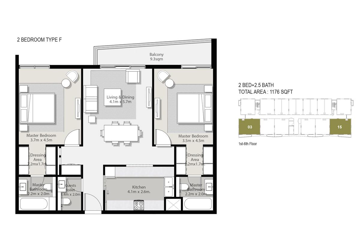 2 Bedroom Type F Size 1176-sqft