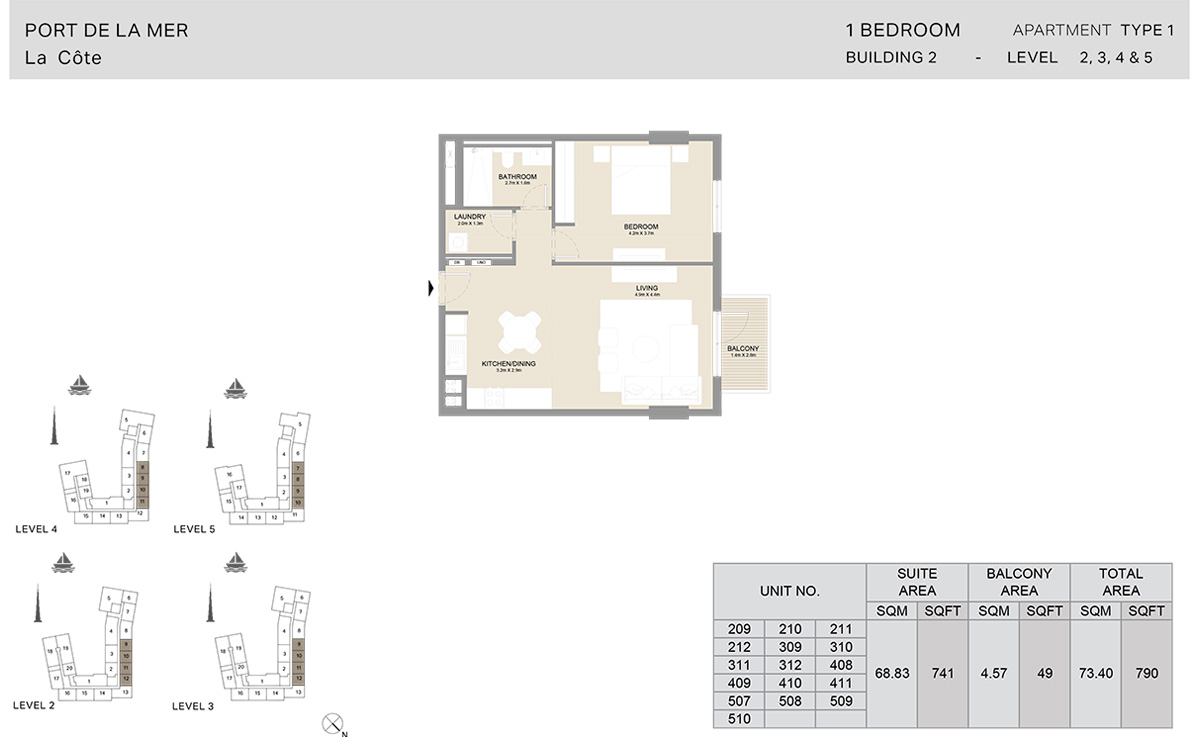 1 Bedroom Building 2, Type 1, Level 1 to 5, Size 790 sq.ft.