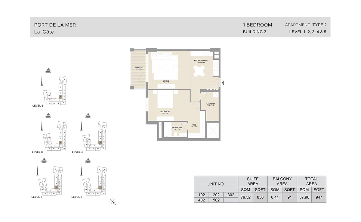 1 Bedroom Building 2, Type 2, Level 1 to 5, Size 947 sq.ft.