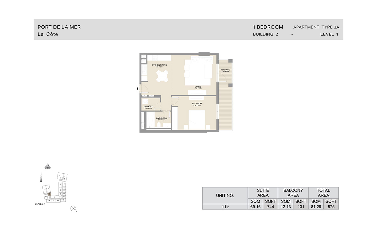 1 Bedroom Building 2, Type 3 A, Level 1, Size 875 sq.ft.