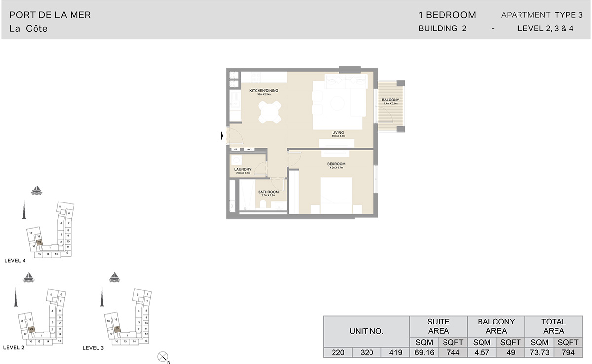 1 Bedroom Building 2, Type 3, Level 2 to 4, Size 794 sq.ft.