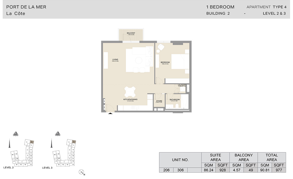 1 Bedroom Building 2, Type 4, Level 2 to 3, Size 977 sq.ft.
