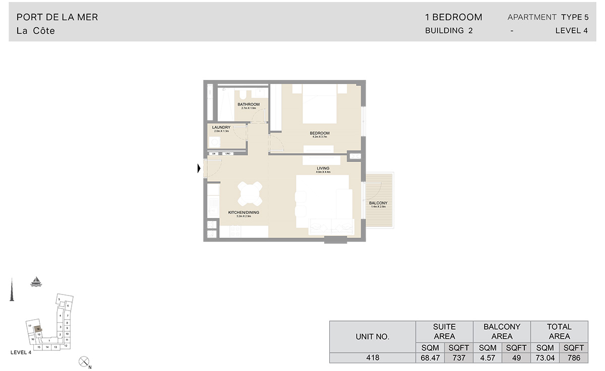 1 Bedroom Building 2, Type 5, Level 4, Size 786 sq.ft.