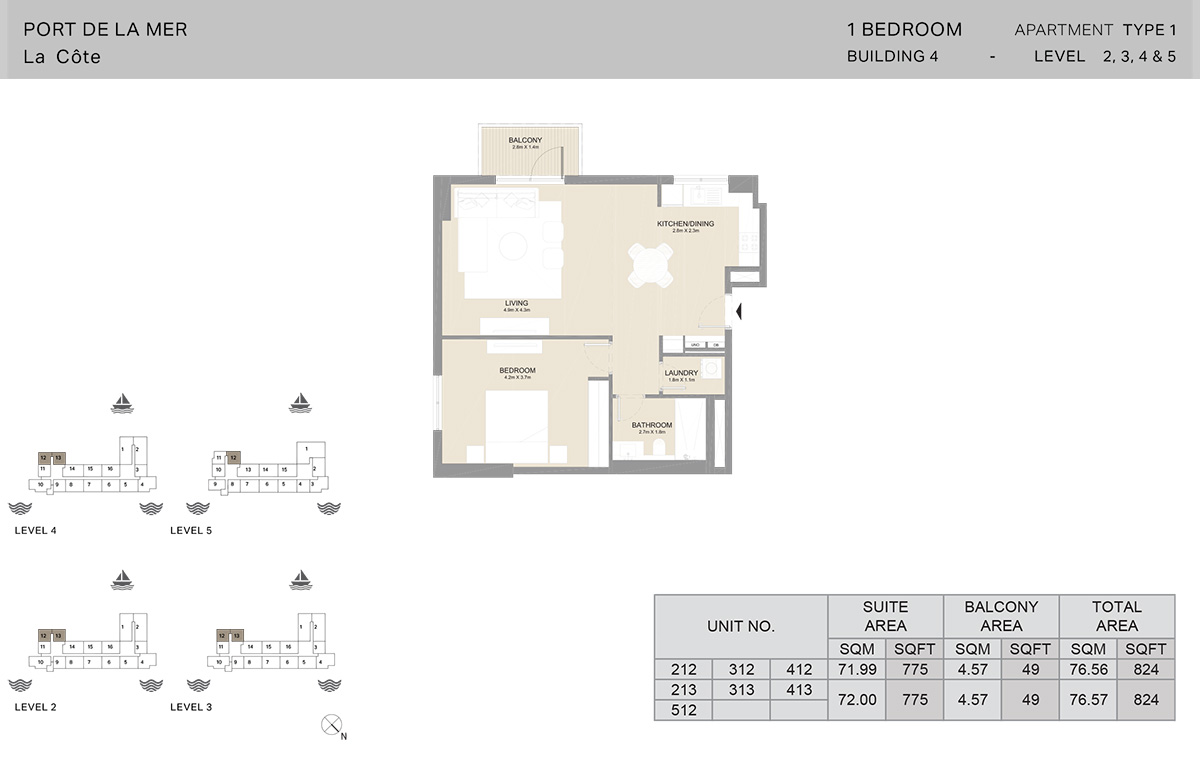 1 Bedroom Building 4, Type 1, Level 2 to 5, Size 824 sq.ft.