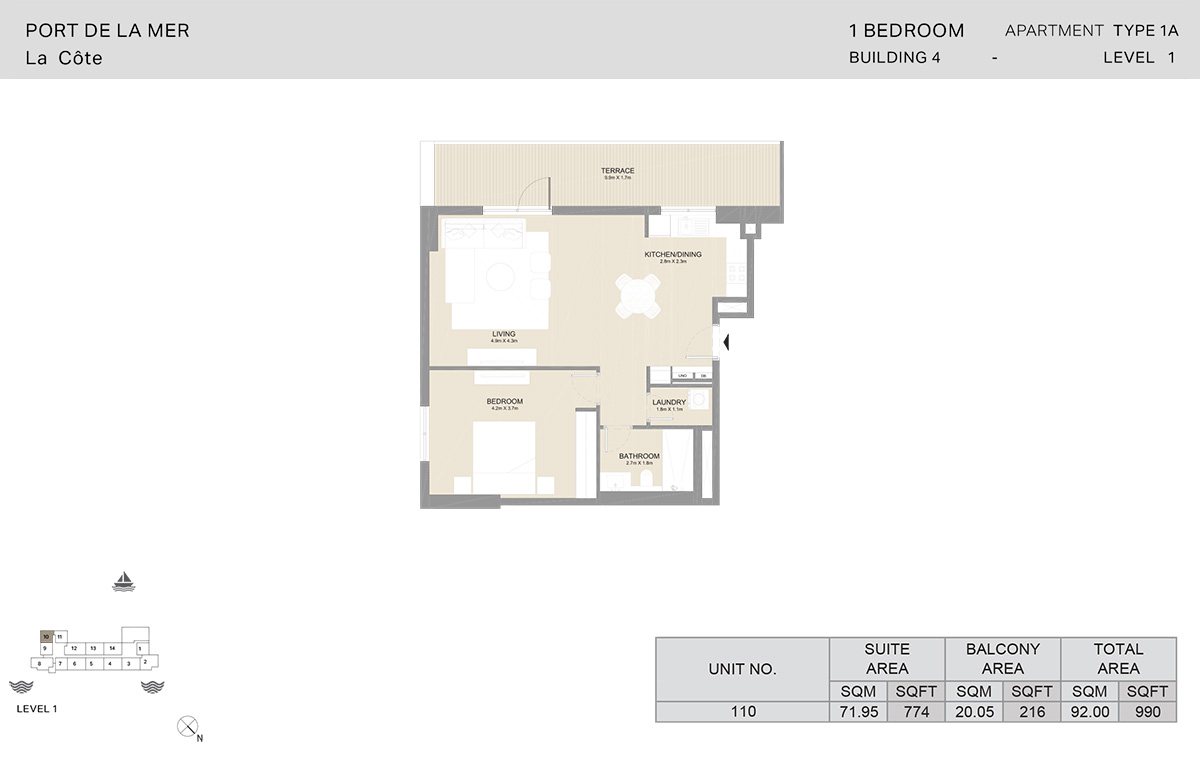 1 Bedroom Building 4, Type 1A, Level 1, Size 990 sq.ft.