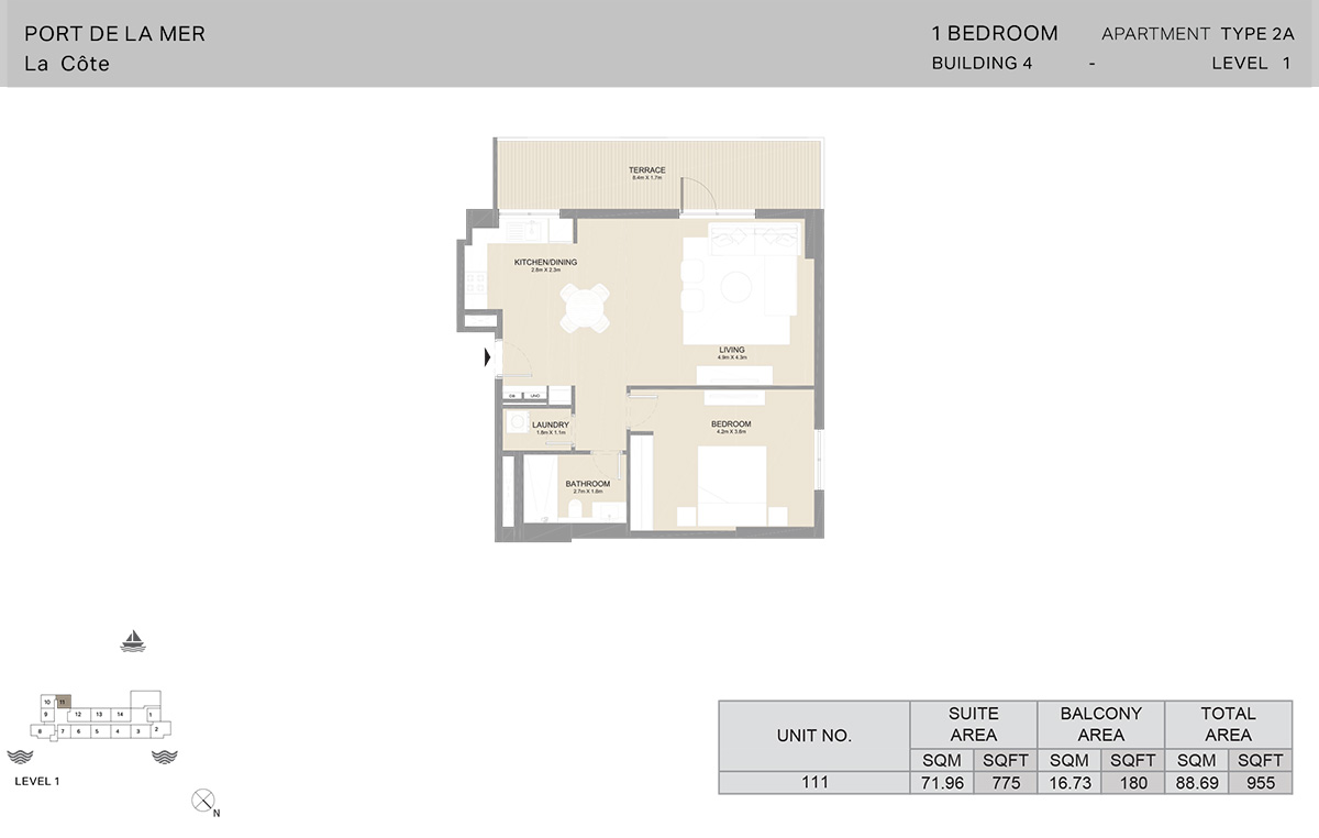 1 Bedroom Building 4, Type 2A, Level 1, Size 955 sq.ft.