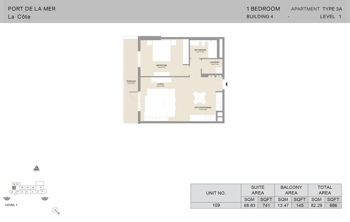 1 Bedroom Building 4, Type 3A, Level 1, Size 886 sq.ft.