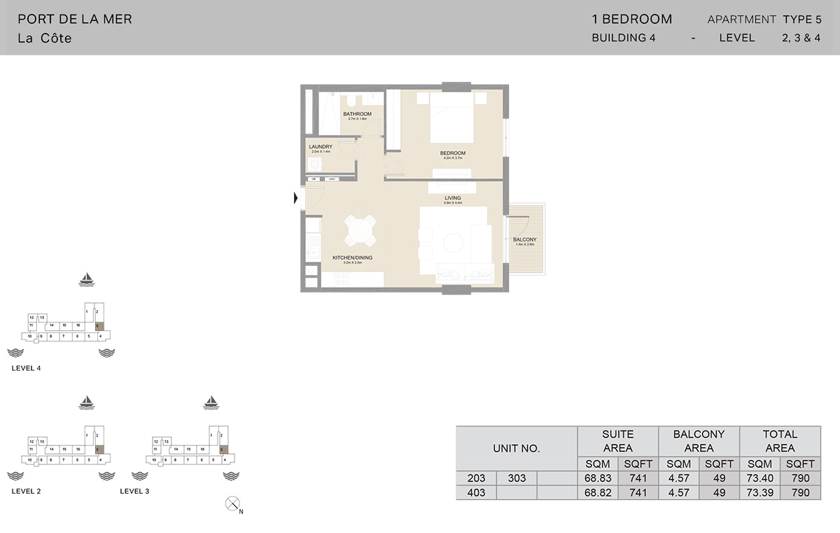1 Bedroom Building 4, Type 5, Level 2 to 4, Size 790 sq.ft.