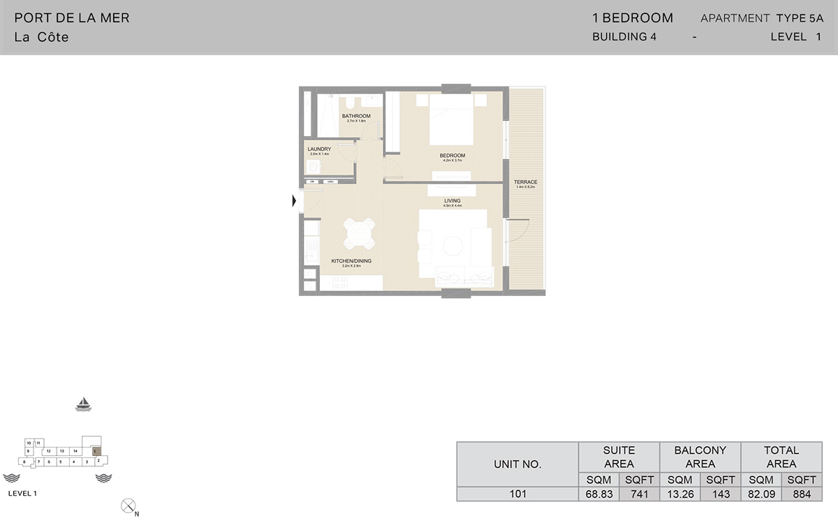 1 Bedroom Building 4, Type 5A, Level 1, Size 884 sq.ft.