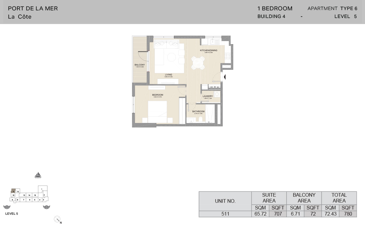 1 Bedroom Building 4, Type 6, Level 5, Size 780 sq.ft.