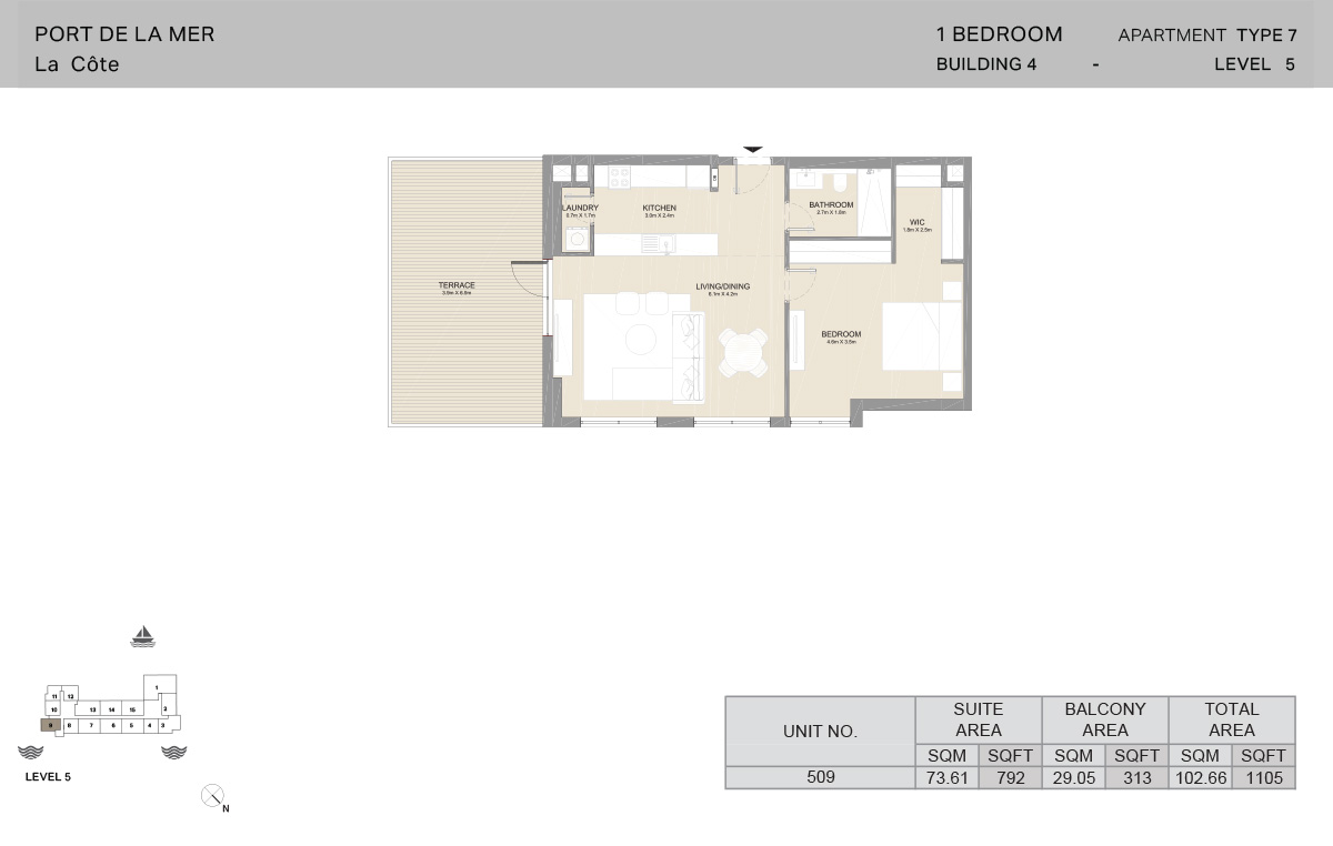 1 Bedroom Building 4, Type 7, Level 5, Size 1105 sq.ft.