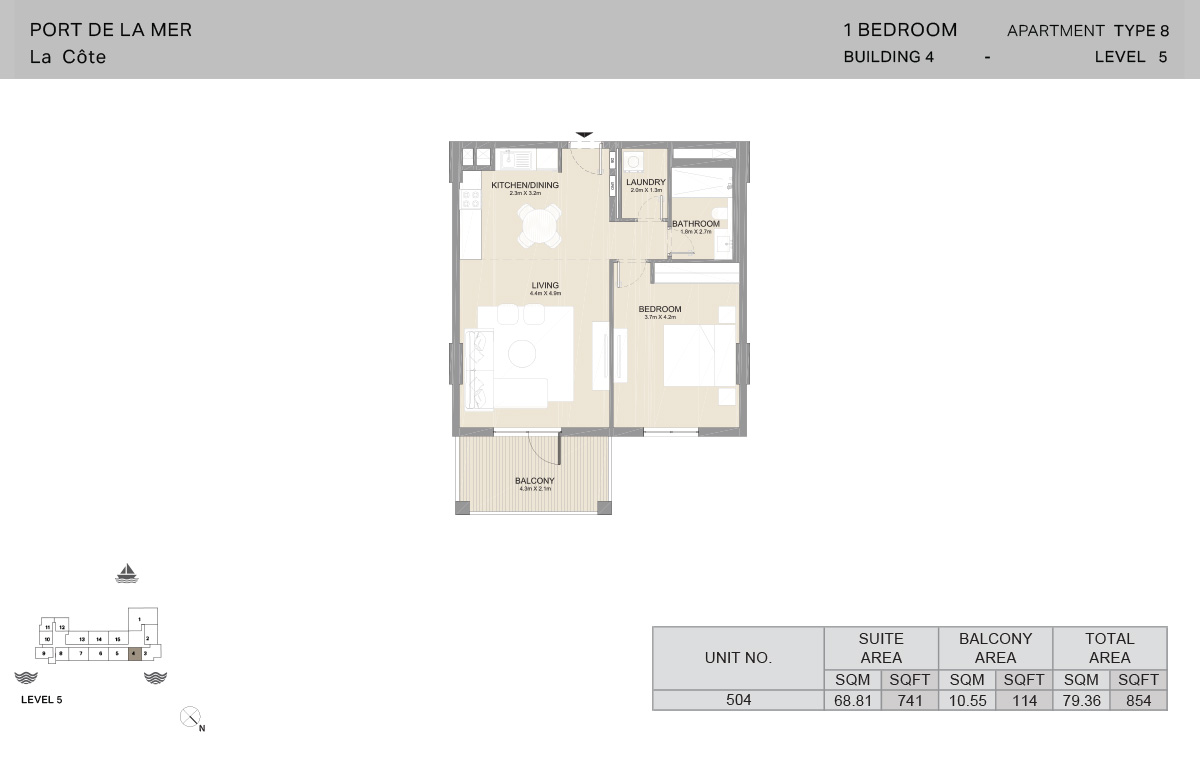 1 Bedroom Building 4, Type 8, Level 5, Size 854 sq.ft.