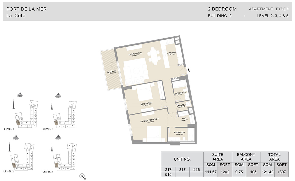 2 Bedroom Building 2, Type 1, Level 2 to 5, Size 1307 sq.ft.
