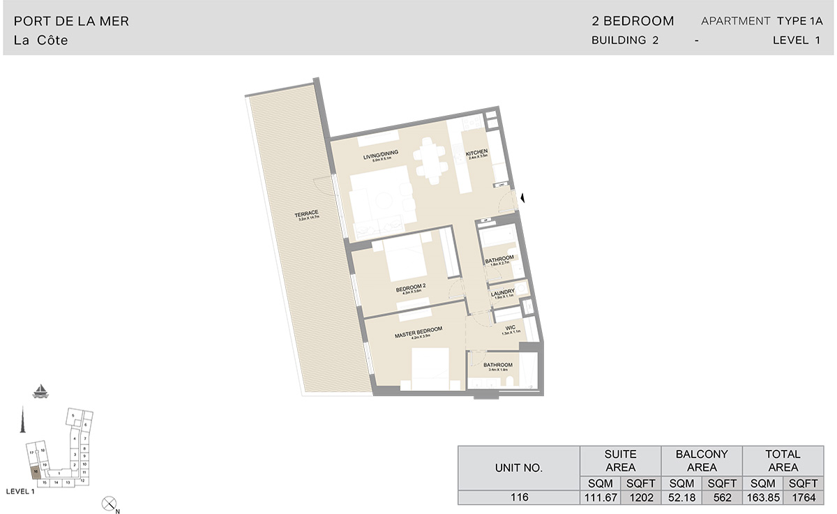 2 Bedroom Building 2, Type 1A, Level 1, Size 1764 sq.ft.