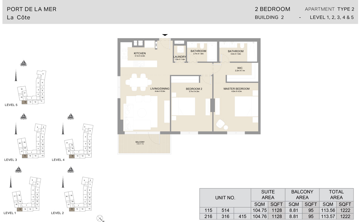2 Bedroom Building 2, Type 2, Level 1 to 5, Size 1222 sq.ft.