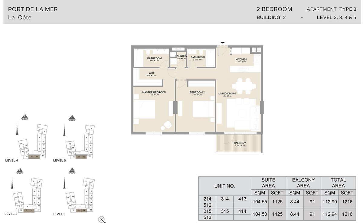 2 Bedroom Building 2, Type 3, Level 2 to 5, Size 1216 sq.ft.