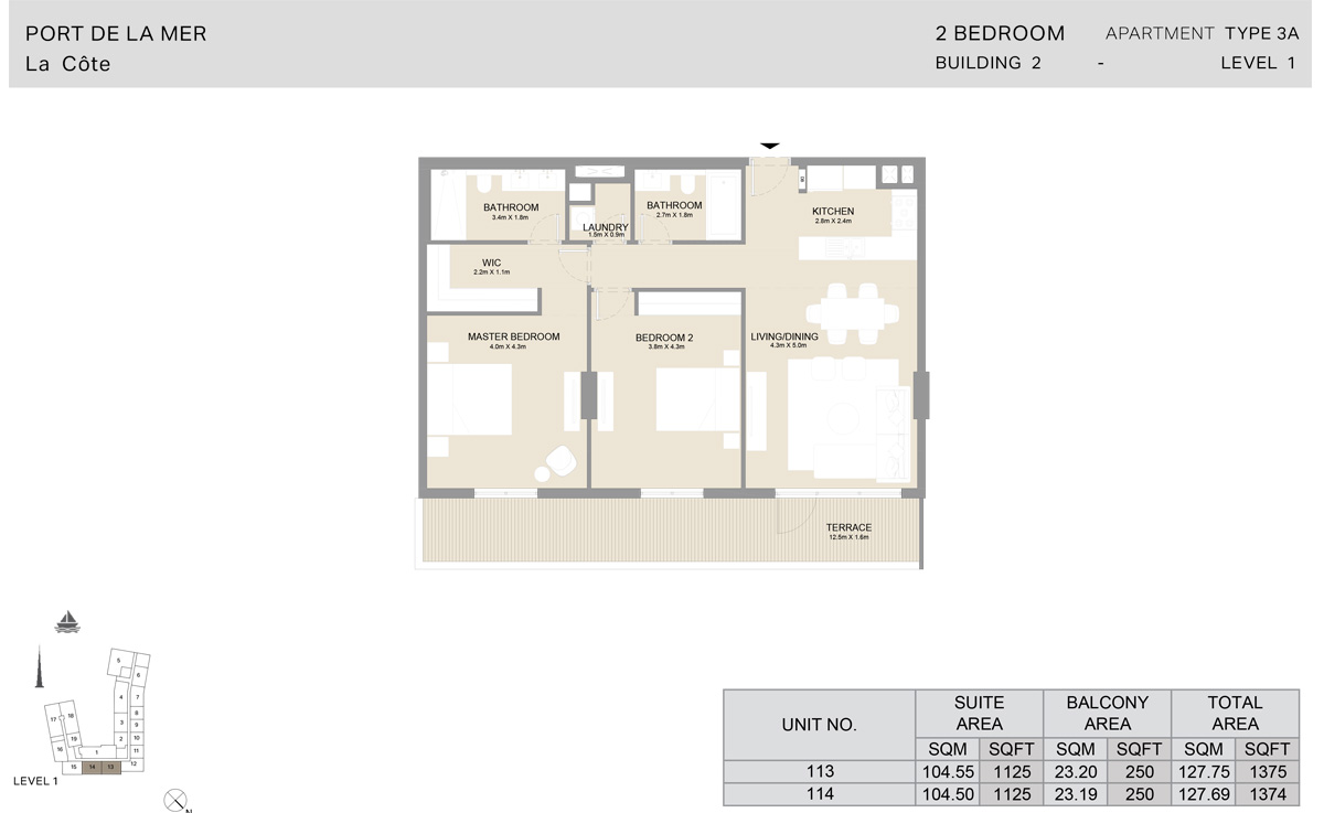 2 Bedroom Building 2, Type 3A, Level 1, Size 1375 sq.ft.
