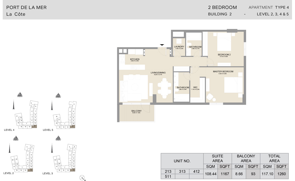 2 Bedroom Building 2, Type 4, Level 2 to 5, Size 1260 sq.ft.