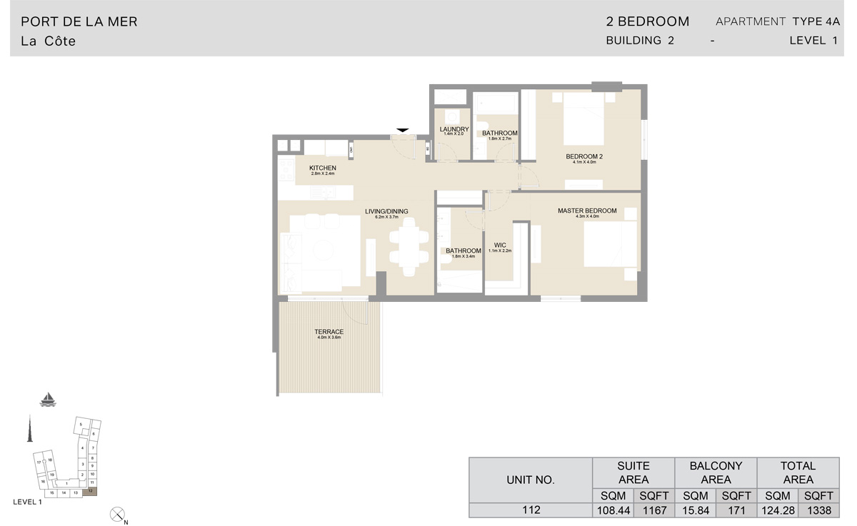 2 Bedroom Building 2, Type 4A, Level 1, Size 1338 sq.ft.