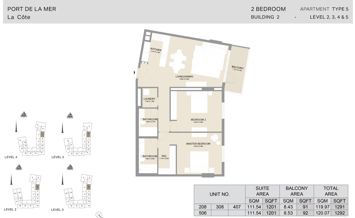 2 Bedroom Building 2, Type 5, Level 2 to 5, Size 1292 sq.ft.