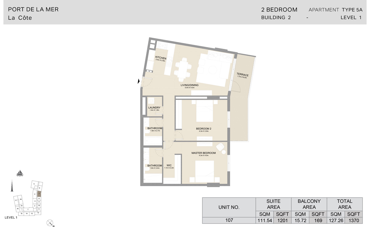 2 Bedroom Building 2, Type 5A, Level 1, Size 1370 sq.ft.