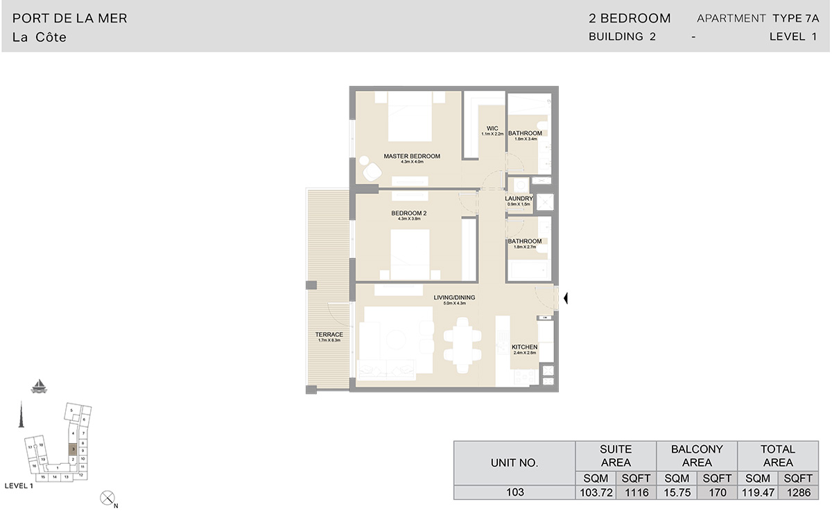 2 Bedroom Building 2, Type 7 A, Level 1, Size 1286 sq.ft.