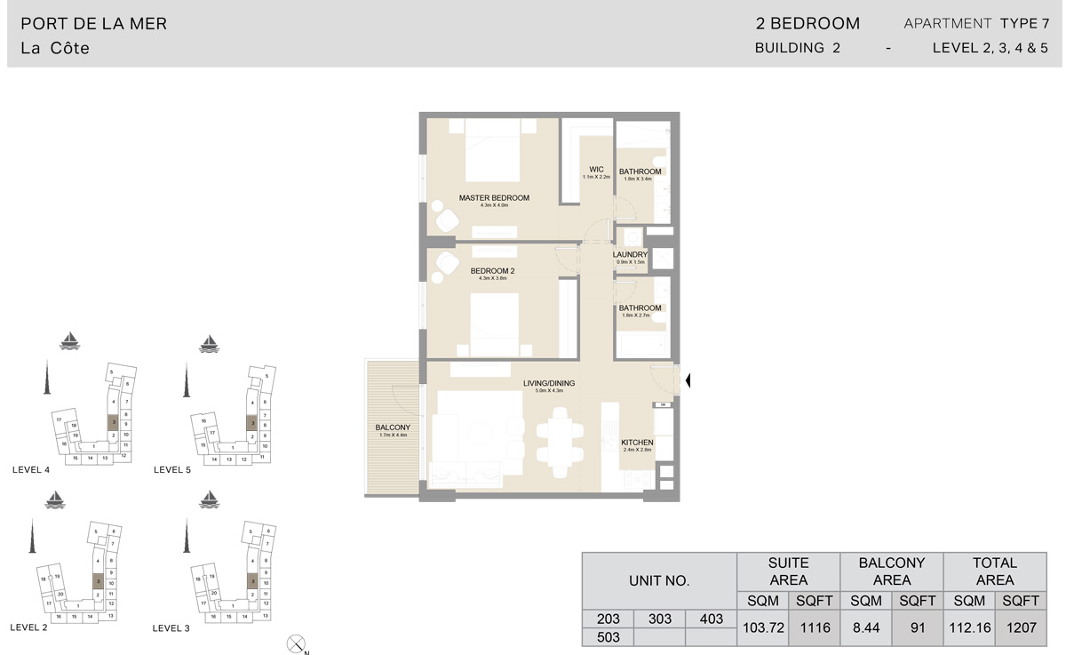 2 Bedroom Building 2, Type 7, Level 2 to 5, Size 1207 sq.ft.