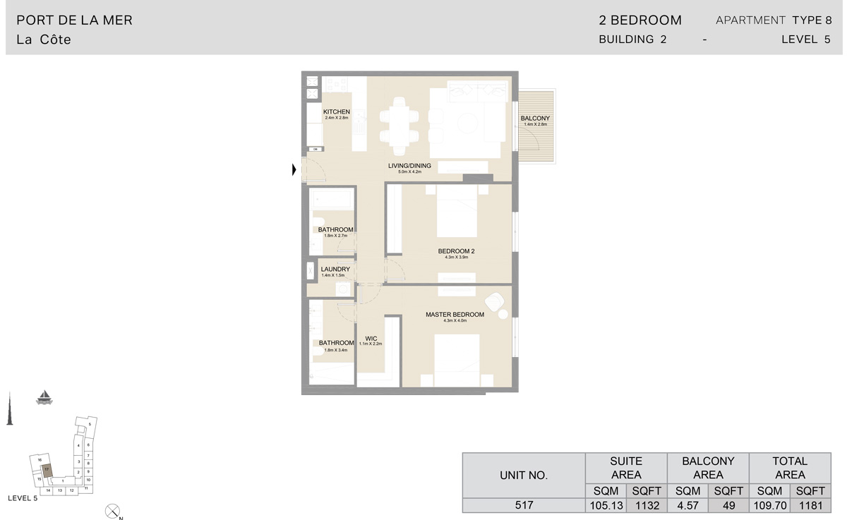 2 Bedroom Building 2, Type 8, Level 5, Size 1181 sq.ft.