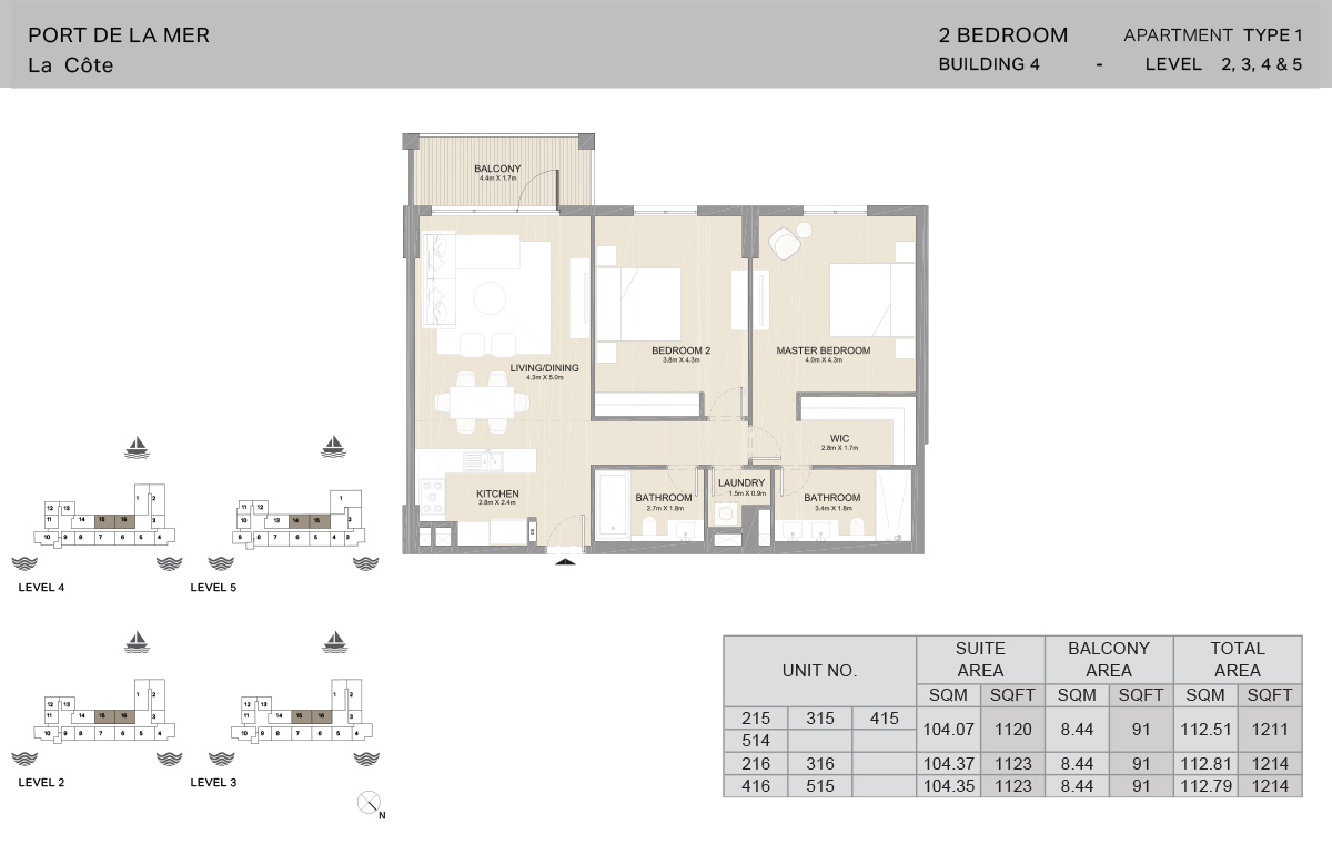 2 Bedroom Building 4, Type 1, Level 2 to 5, Size 1214 sq.ft.