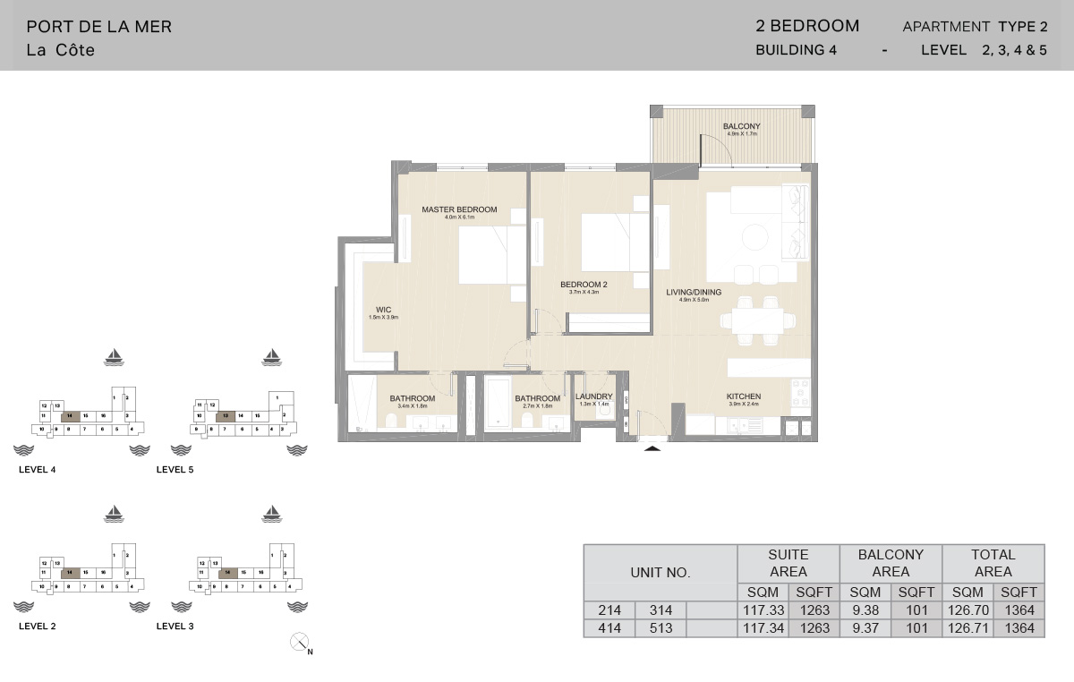 2 Bedroom Building 4, Type 2, Level 2 to 5, Size 1364 sq.ft.