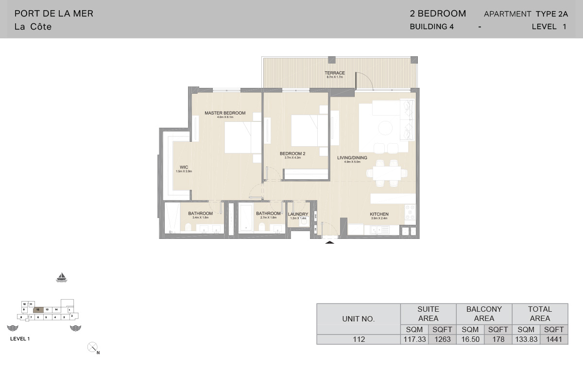 2 Bedroom Building 4, Type 2A, Level 1, Size 1441 sq.ft.