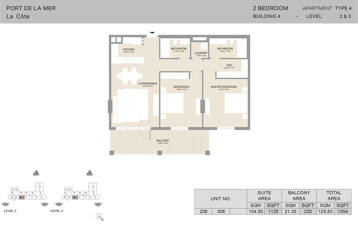 2 Bedroom Building 4, Type 4, Level 2 to 3, Size 1354 sq.ft.