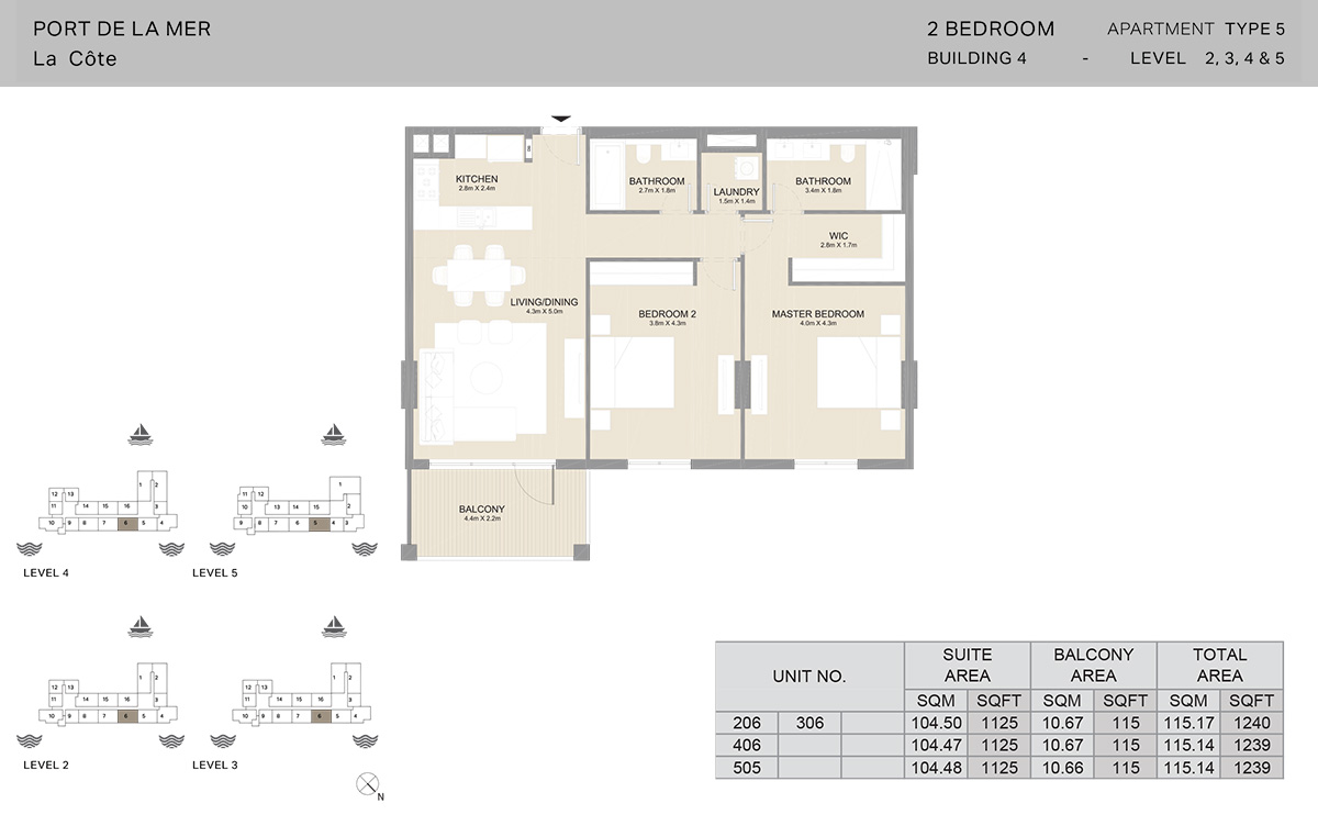 2 Bedroom Building 4, Type 5, Level 2 to 5, Size 1240 sq.ft.