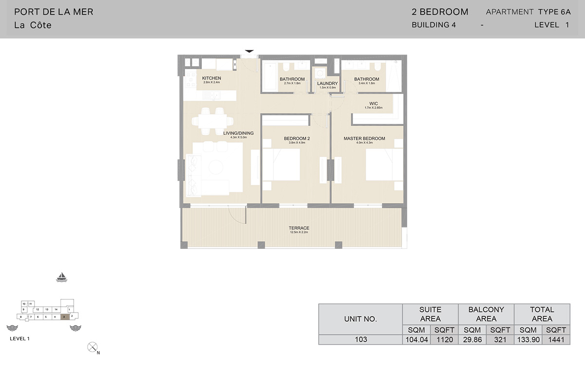 2 Bedroom Building 4, Type 6A, Level 1, Size 1441 sq.ft.