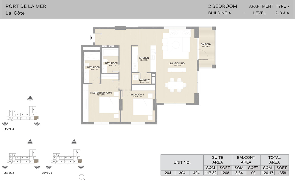 2 Bedroom Building 4, Type 7, Level 2 to 4, Size 1358 sq.ft.