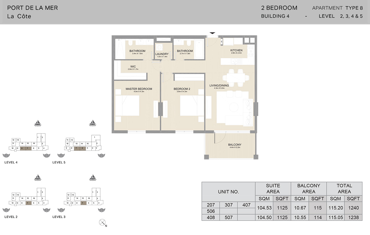 2 Bedroom Building 4, Type 8, Level 2 to 5, Size 1240 sq.ft.