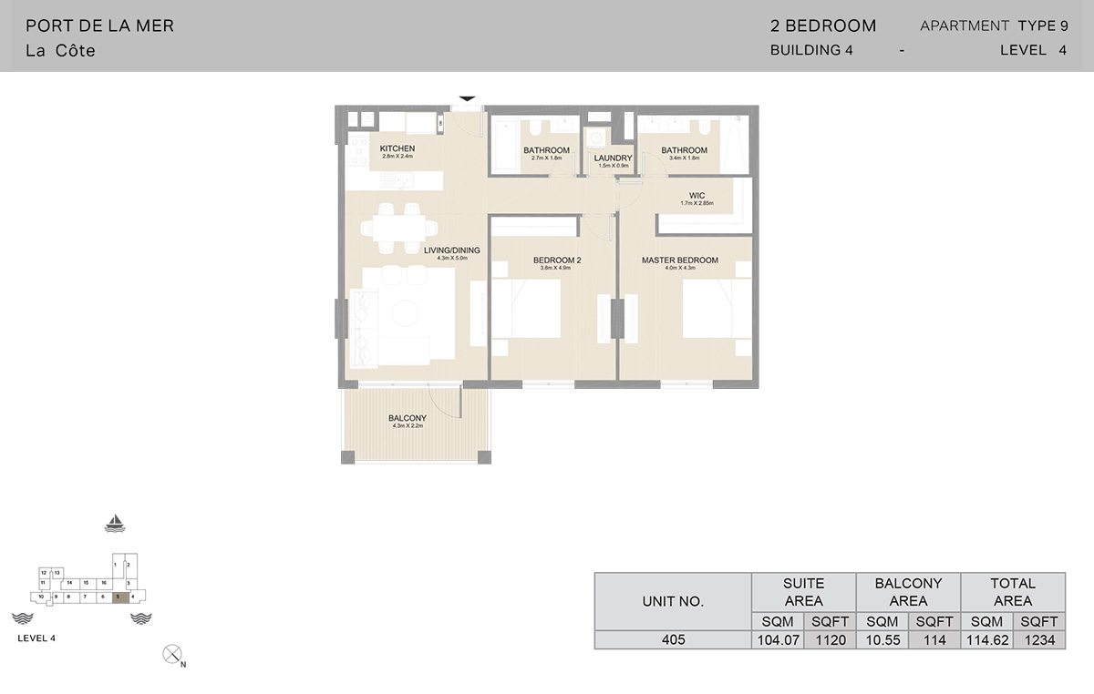 2 Bedroom Building 4, Type 9, Level 4, Size 1234 sq.ft.