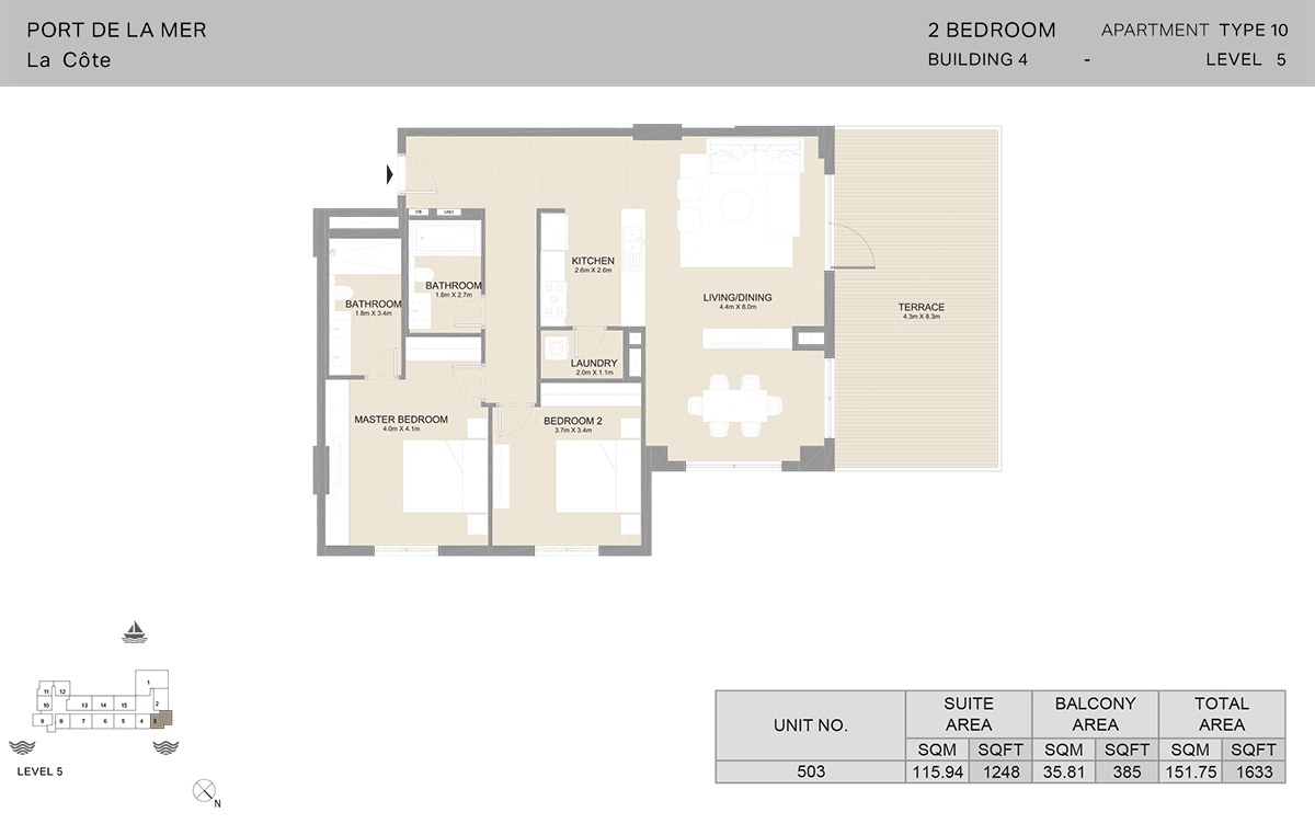 2 Bedroom Building 4, Type 10, Level 5, Size 1633 sq.ft.