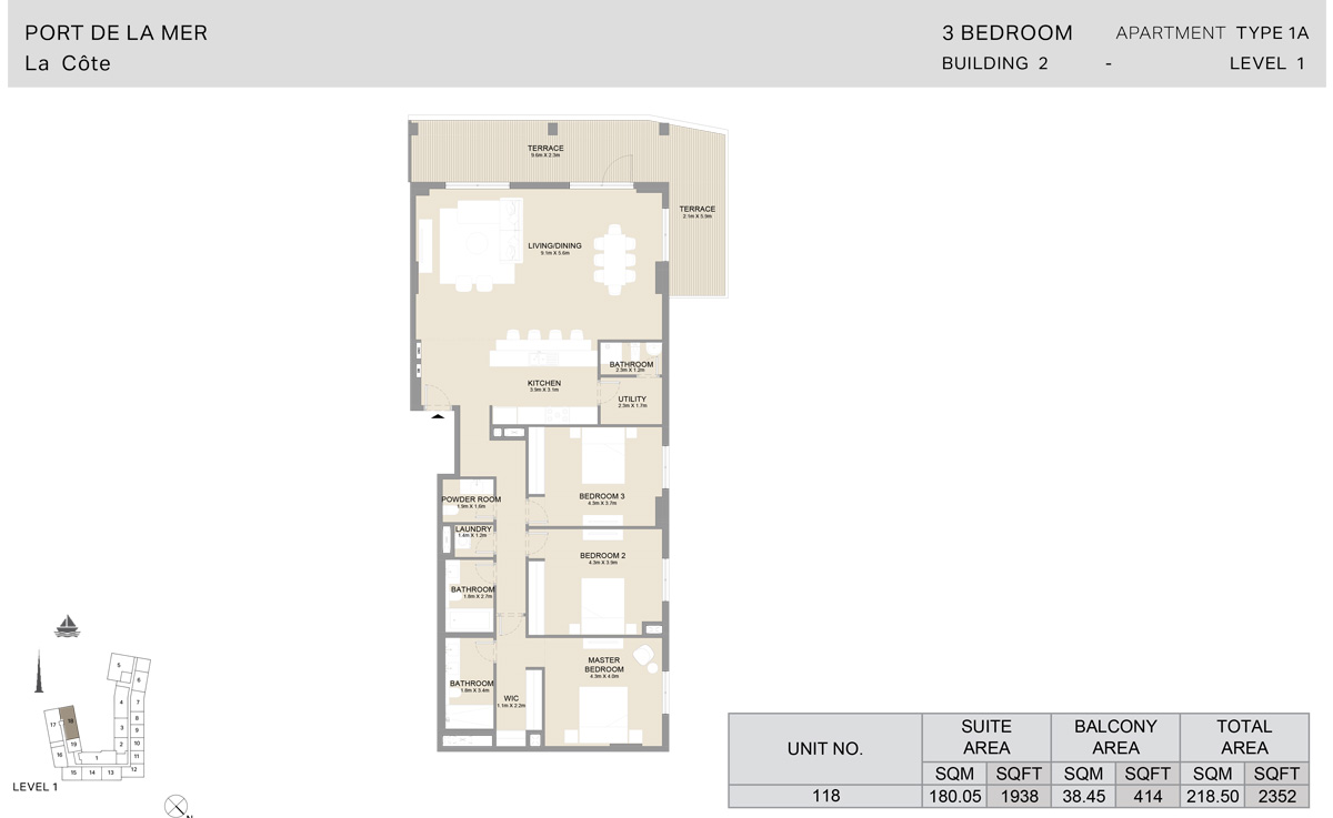 3 Bedroom Building 2, Type 1 A, Level 1, Size 2352 sq.ft.