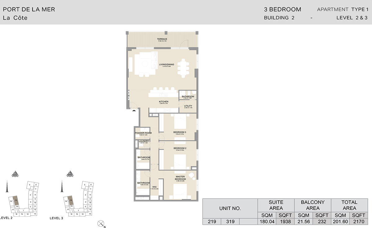 3 Bedroom Building 2, Type 1, Level 2 to 3, Size 2170 sq.ft.