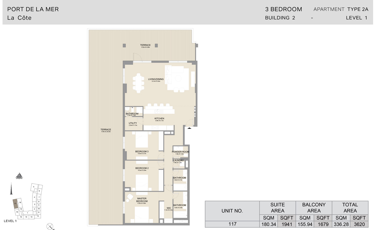 3 Bedroom Building 2, Type 2 A, Level 1, Size 3620 sq.ft.