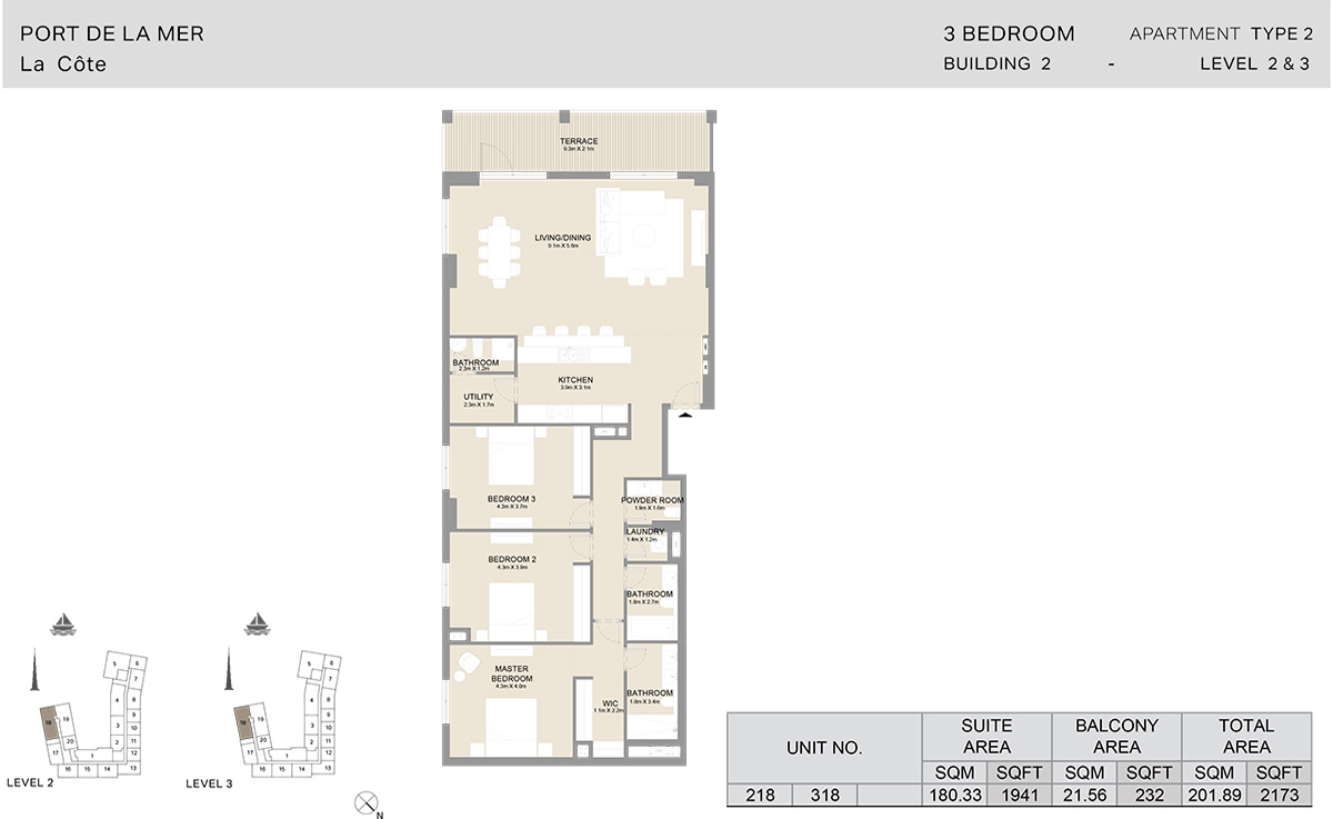 3 Bedroom Building 2, Type 2, Level 2 to 3, Size 2173 sq.ft.