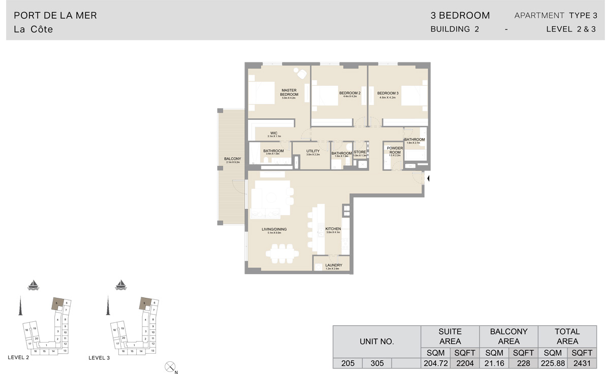 3 Bedroom Building 2, Type 3, Level 2 to 3, Size 2431 sq.ft.