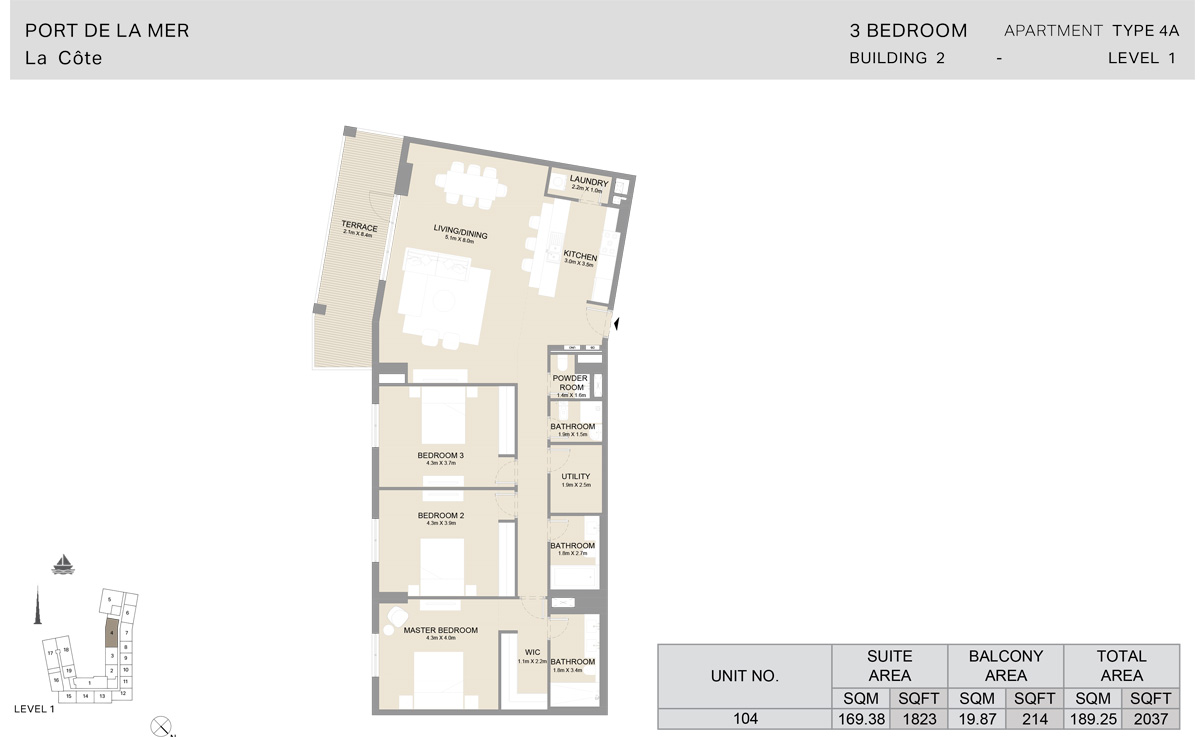 3 Bedroom Building 2, Type 4 A, Level 1, Size 2037 sq.ft.