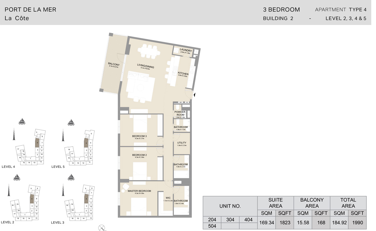 3 Bedroom Building 2, Type 4, Level 2 to 5, Size 1990 sq.ft.