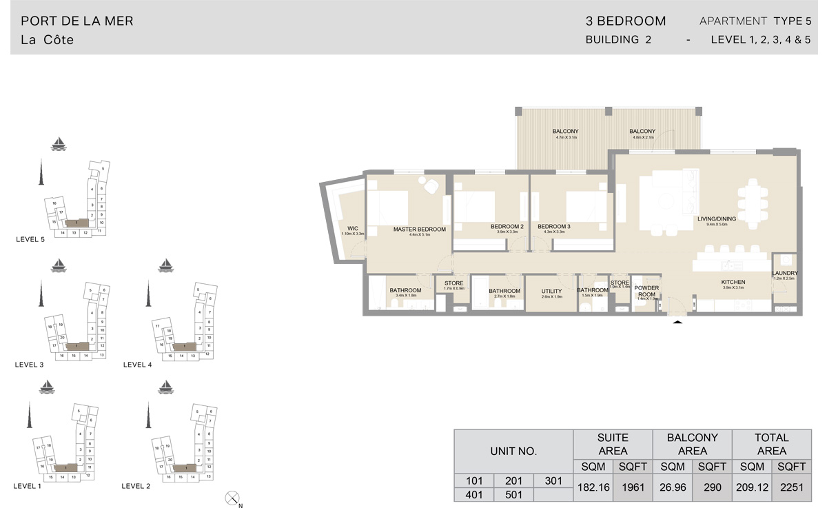 3 Bedroom Building 2, Type 5, Level 1 to 5, Size 2251 sq.ft.