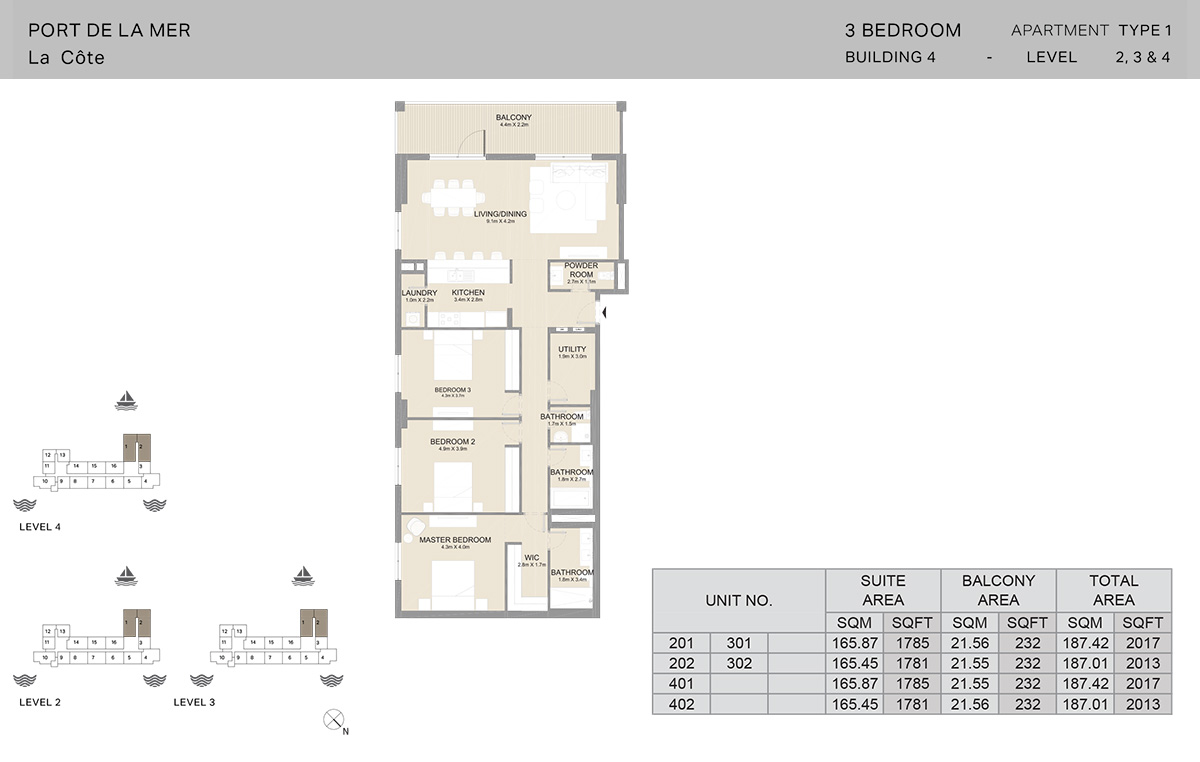 3 Bedroom Building 4, Type 1, Level 2 to 4, Size 2017 sq.ft.