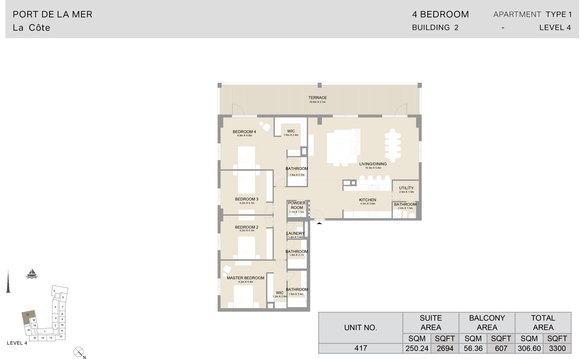 4 Bedroom Building 2, Type 1, Level 4, Size 3300 sq.ft.
