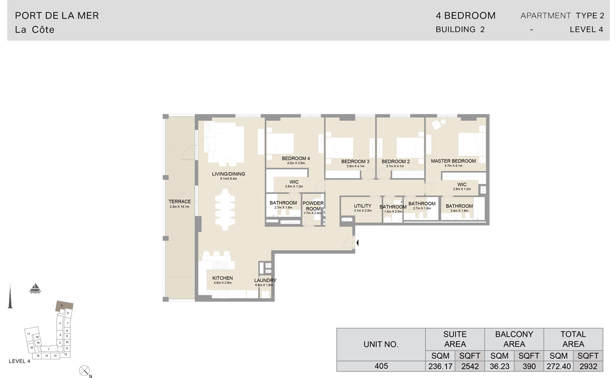 4 Bedroom Building 2, Type 2, Level 4, Size 2932 sq.ft.
