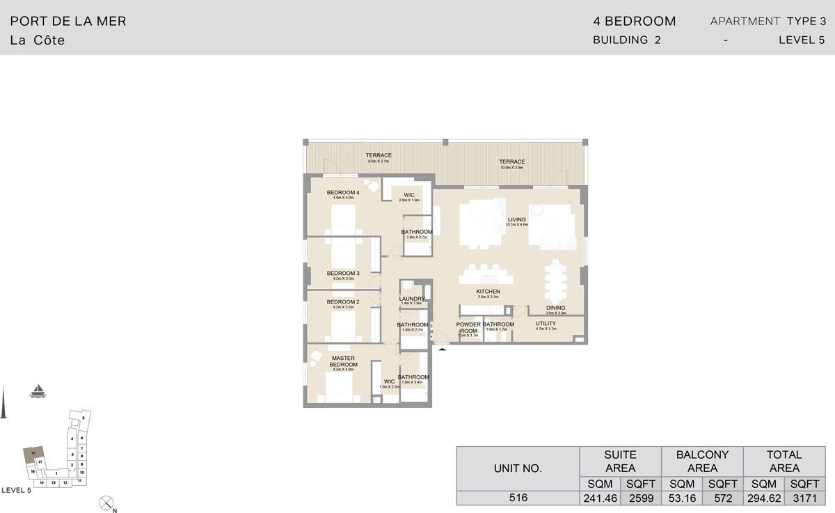 4 Bedroom Building 2, Type 3, Level 5, Size 3171 sq.ft.